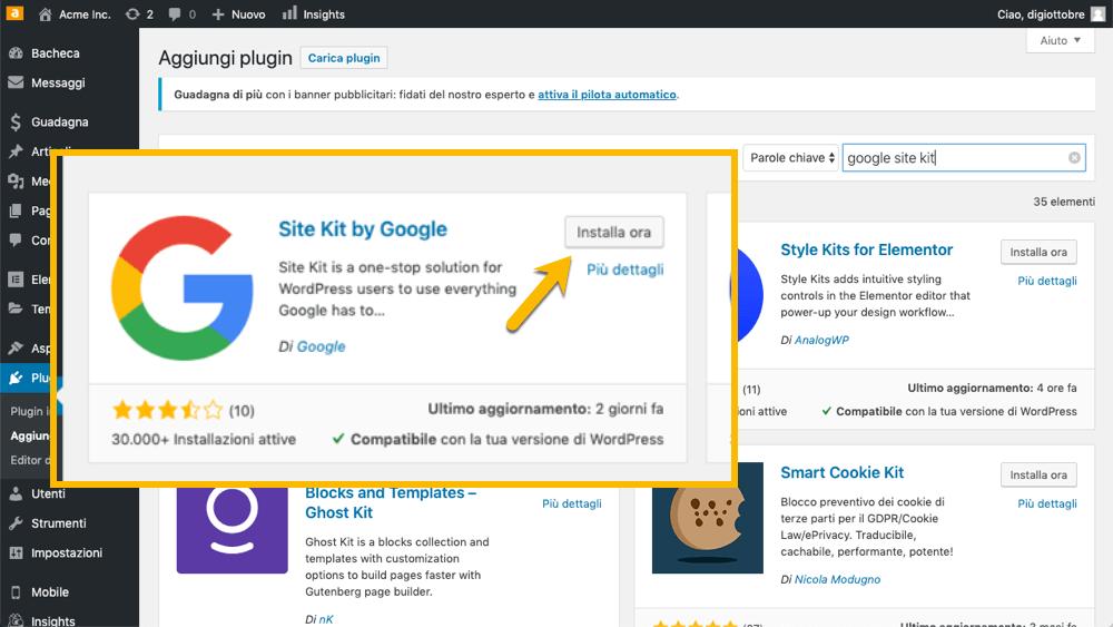 Installazione di Google Site Kit su WordPress